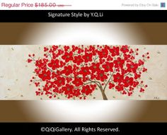 Original Oil Landscape red flowers Tree painting by QiQiGallery, $148.00