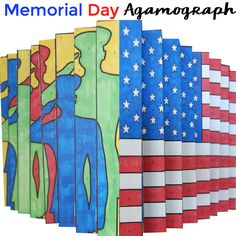 "Patriiotic-themed agamographs. Try something new in class this year for Memorial Day or Veterans Day. This agamograph art activity is sure to be the talk of your school. Kids color, cut, fold and follow precise directions to create this contemporary art project! High ""wow"" factor!"
