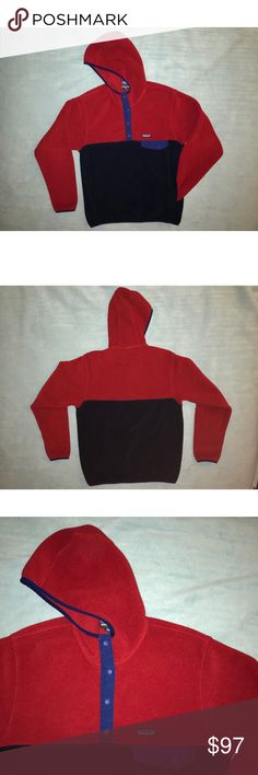 Patagonia Hooded Synchilla Fleece Men's hooded synchilla fleece with kangaroo pocket. Size L. No holes or stains. Blue and red color. Patagonia Shirts Sweatshirts & Hoodies