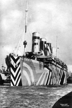 Dazzle Ships | The Public Domain Review - RMS Olympic 1918, sister ship to the RMS Titanic