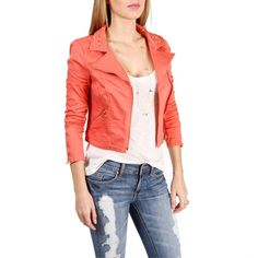 Coral Studded Motto Jacket ($60) ❤ liked on Polyvore