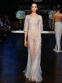 Alon Livne Fall 2016 illusion three-quarter sleeve and A-line silhouette wedding dress | https://www.theknot.com/content/alon-livne-wedding-dresses-bridal-fashion-week-fall-2016