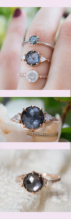 Dreamy grey rose cut montana sapphire and vintage diamonds.