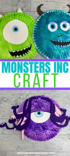 Monsters Inc Paper Plate Craft. Learn how to make Mike Wazkowski, Sulley, and Celia with simple craft materials. #monstersinc #disneycraft #kidscraft #monsterscraft Monsters Inc Crafts, Monsters Inc Decorations, Mike From Monsters Inc, Monsters Inc Halloween Costumes, Disney Halloween, Halloween Masks, Halloween Fun, Disney With A Toddler, Toddler Art