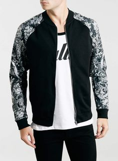BlACK PANTHER SLEEVE BOMBER JACKET - Men's Jackets & Coats - Clothing - TOPMAN USA