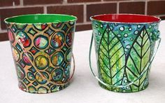 Use paint or decopage to transform $1 metal buckets from Michaels for storage  After-sm