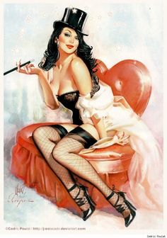 Zatanna as a pinup. By Cedric Poulat, in tribute to Gil Elvgren.
