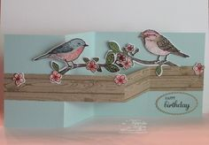 Z Cards, Step Cards, Bird Cards, Cool Cards, Stampin Up Cards, Fancy Fold Cards, Folded Cards, Karten Diy, Shaped Cards