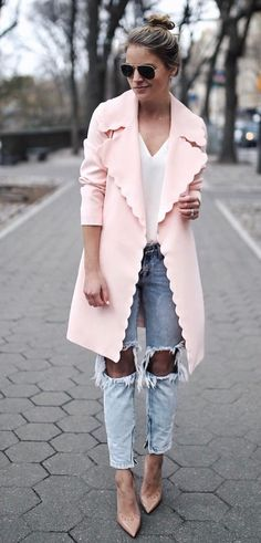 Love the coat only. Imagine coat with a chic dress or skirt/blouse OR pants without holes! Will be FAB!