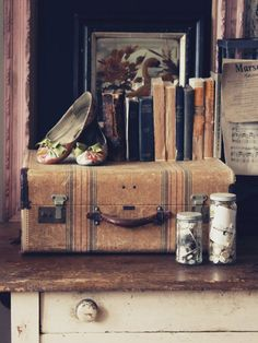Image result for travel trunk decorative fireplace