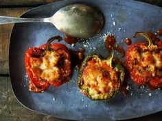 Italian sausage risotto stuffed peppers