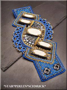 StarPerlenSchmuck: Embroidered bracelet with tatted edging. Wow!