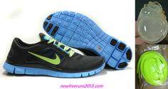 New Mens Nike Free Runs 3 Midnight Fog Volt Blue Glow Shoes