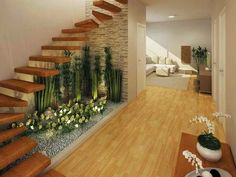 21 Inspiring Under Stairs Pebble Garden Ideas -Get the inspiration you need to plan your own indoor pebble garden for under your staircase. Small Garden Under Stairs, Space Under Stairs, Stairs In Living Room, House Stairs, Home Stairs Design, House Design, Interior Garden, Interior Design, Indoor Zen Garden