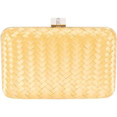 Inge Christopher Eliza Yellow Woven Silk Minaudière ($190) ❤ liked on Polyvore featuring bags, handbags, clutches, yellow, yellow crossbody, beige purse, crossbody chain purse, crossbody handbags and clasp purse