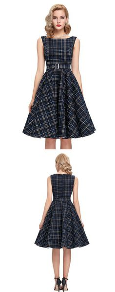 GRACE KARIN® SLEEVELESS COTTON VINTAGE DRESS WITH BELT ---------- Colors Available : White/Black,Floral Blue,Black Checks,Black,Red-- Features:  Boatneck, concealed zipper at back, comes with a belt as pictures show..... It's great for daily casual, ball, party, banquet and other occasion----- Elegant,Classy and Beautiful Dress ideal for Party, Casual ,Everyday and Work Wear during Summers/Spring of 2016----------- Designer----------- Can be worn by teens and adults ------------