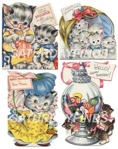 Birthday Girl No. 3 (of 8) Vintage Greeting Cards - Digital Collage Sheets E-mailed directly to you. No Shipping... Just Save and Print. via Etsy