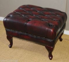 STUNNING-CHESTERFIELD-LEATHER-FOOT-STOOL-OTTOMAN-POOF-POUFFE-PERFECT-WITH-LOUNGE