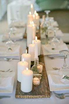 Candles on barn wood minimalism & romance in one - DIY Wedding Decoration Ideas. 20 Stunning Wedding Candlelight Decoration Ideas You Will Love. Venue, Table Decoration, Table Centrepiece and Party Venue Decoration Wedding Table Centerpieces, Wedding Decorations, Table Wedding, Centerpiece Ideas, Long Table Decorations, Decor Wedding, Rectangle Table Centerpieces, Wedding Table Runners, Rustic Candle Centerpieces