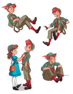 """briannacherrygarcia: """" A bit of Peter and Wendy based on the Disneybounding outfits Kit and I wore. Sorry for slapping my watermark all over them but I kinda have trust issues when it comes to certain Disney fanart. Pencil sketches colored in..."""