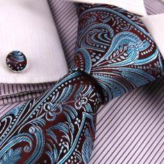 Teal Florals Cheap Ties For Men Pattern Valentine Handmade Silk Neck Tie Cufflinks Set A2094: Amazon.co.uk: Clothing