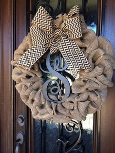 Items similar to Burlap Wreath - Fall Wreath - Year Round Wreath - Door Wreath - Monogrammed Wreath - Personalized Wreath on Etsy Burlap Projects, Burlap Crafts, Wreath Crafts, Diy Wreath, Tulle Wreath, Wreath Burlap, Burlap Wreaths For Front Door, Initial Wreath, Wreath Making