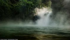 Runzo discovered a four mile 'boiling river' in the sacred geothermal healing site of the Asháninka people in Mayantuyacu. At its widest, it is 82ft (25 metres), and around 20ft (six metres) deep. The water is hot enough to brew tea, according to a report in Gizmodo , and in some parts, it boils over.