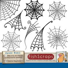 Spider Web ClipArt Halloween Clip Art Png Digital by FishScraps, $5.75