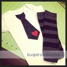 Size 9 months Valentine's Day Necktie Onesie and Leg Warmers Set by bugarooboutique, $22.00