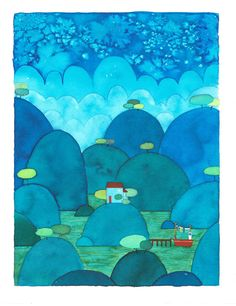 Little house in the valley lake-Watercolour original painting-house by the lake-blue hills-watercolor illustration-blue valley- night valley