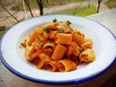 Pasta guisada con pollo y verduras, por Patxi Gimeno, cocinero deportivo www.patxigimeno.com