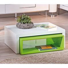 Elko Extendable Storage Coffee Table In White And Green Gloss Living Room Furniture Sale, Contemporary Living Room Furniture, Extendable Coffee Table, Coffee Table With Storage, Being A Landlord, Decoration, Floating Nightstand, End Tables, Contemporary Design