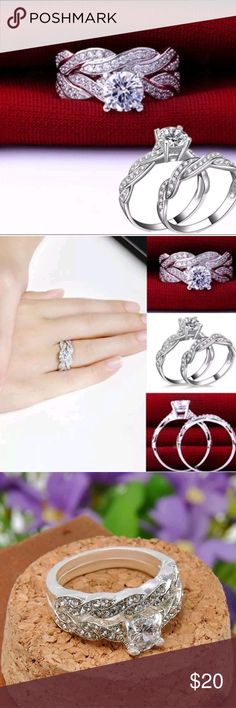 Gorgeous Fashion Wedding/Engagement Set Beautiful 2 piece fashion Engagement/wedding ring set. Silver plated with cubic zirconia embellishment. Wear it together or separately, or give it as a gift! boutique Jewelry Rings