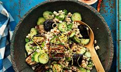 Sam Harris's salad of farro, roasted aubergines, cucumber and mint. Photograph: Jean Cazals for Observer Food Monthly