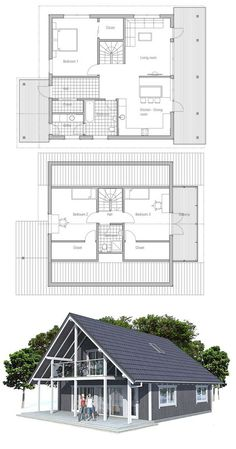 Small house plan with two floors, three bedrooms, affordable building budget, covered terrace, small building area. Perfect for a vacation house Lake House Plans, Bedroom House Plans, Small House Plans, House Floor Plans, Small Modern House Plans, House Plan With Loft, Cottage Plan, Small Buildings, Sims House