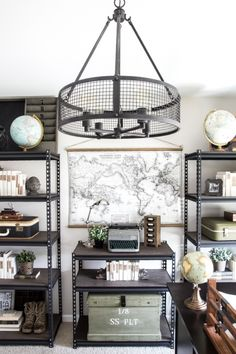Industrial Military Office Reveal | blesserhouse.com - An masculine office makeover using lots of DIYs and thrift finds. Awesome space for a veteran!
