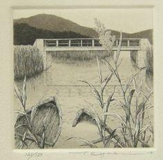 Waterside (summer). Hyperrealistic etching by Japanese artist Tanaka Ryohei