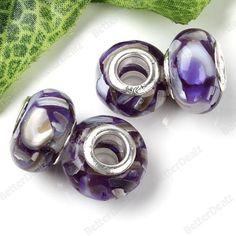 8x14mm Purple Mop Pearl Shell Loose Bead Fit Charm European 5p