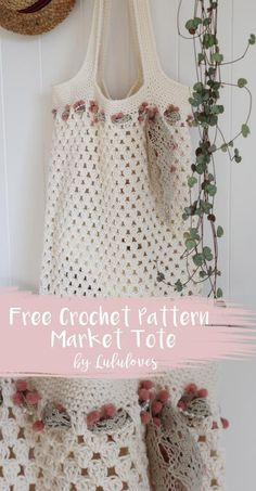Free crochet pattern for a simple market tote bag by Lululoves crochet Crochet Gratis, Crochet Diy, Easy Crochet Projects, Crochet Tote, Crochet Handbags, Crochet Purses, Beaded Crochet, Crochet Bag Tutorials, Sewing Tutorials
