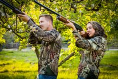 Country engagement pictures - duck hunting - hunters - camo - shotguns - shooting