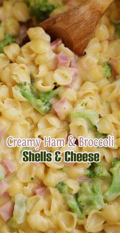 Creamy Ham And Broccoli Shells And Cheese