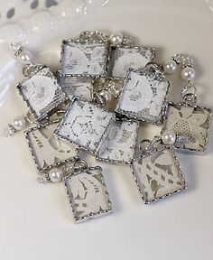 shabby chic vintage lace soldered charms Things to do with your husband. Jewelry Crafts, Jewelry Art, Beaded Jewelry, Vintage Jewelry, Jewelry Accessories, Handmade Jewelry, Jewelry Design, Jewelry Ideas, Gold Jewelry