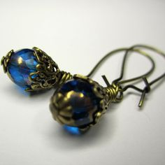 Oriental Aqua Earrings Blue Czech Glass Brass Ox by ArxRosarum, €14.00