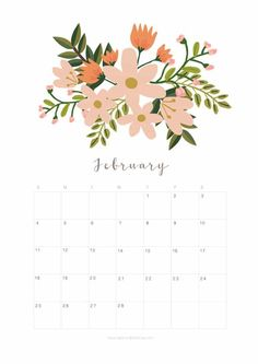 Printable February 2018 Calendar Monthly Planner - Floral Design - A Piece Of Rainbow