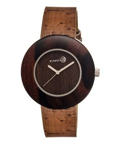 Look at this Dark Brown Ligna Leather-Strap Watch on #zulily today!