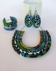 Blue necklace set  Set  Ghanaian jewelry set  Bright by nad205