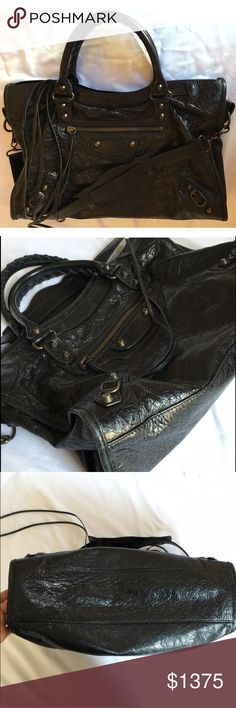 """Authentic 2014 Balenciaga Arena Classic City Bag Authentic 2014 Balenciaga Nero (black) glazed, grained-goatskin Arena Classic City bag Condition: Very Good. Very slight wear on two of the bottom corners, visible only upon close inspection. Mirror has a spot. All tassels intact and in perfect condition.  *As you may know,Balenciaga City bags are known for looking better over time with more wear. I would consider it about 50-60% """"broken in"""" (you get to do the rest :) ), and has not yet…"""