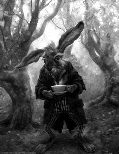 "Are you a fan of Alice in Wonderland? Michael Kutsche explicit talent has led him to become a character designer on Tim Burton's ""Alice in Wonderland"" in Kutsche is an award-winn Alice March, Lapin Art, Alice In Wonderland Characters, Chesire Cat, March Hare, Adventures In Wonderland, Disney Tattoos, Art Design, Tim Burton"