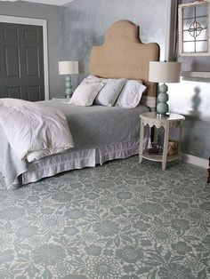 painted flooring Goodbye Carpet, Hello Stenciled Floor With Annie Sloan Chalk Paint :: Hometalk Stenciled Concrete Floor, Painted Concrete Floors, Painting Concrete, Stained Concrete, Concrete Countertops, Concrete Bedroom Floor, Floor Painting, Plywood Floors, Concrete Tiles