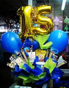 10 ideas de arreglos de 15 años Ideas Para, Balloons, Birthday, Happy, Diy, Google, Candy Arrangements, Creative Boyfriend Gifts, Globes